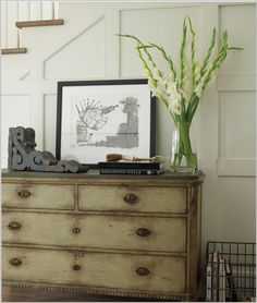 Great finish on this piece.  And I like the idea of using an extra dresser in an entry.  Great storage possibilities!