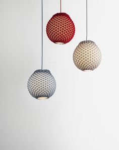 Lamps with a Knitted Shade by Ariel Zuckerman in collaboration with Oded Sapir and partnering with Adva Bruner.