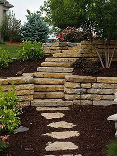 limestone stairs with crushed stone pathway. | steps and stairs