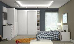 Quarto de Casal Modulado Completo com 9 Módulos Harmony com Painel Decorativo Branco - Urbe Móveis   Lojas KD