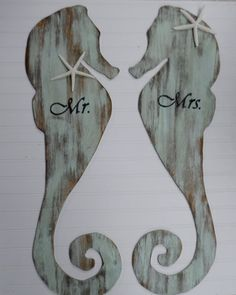 Seahorse bride and goom beach wedding decor. by ShoreThings21901, $100.00