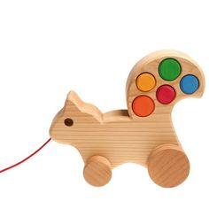 Pull along squirrel with coloured pins