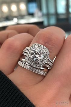 11 Fresh Engagement Ring Trends For 2018 ❤️ ring trends halo round cut diamond wedding set pave band split white gold ❤️ See more: http://www.weddingforward.com/ring-trends/ #weddingforward #wedding #bride #weddingbands