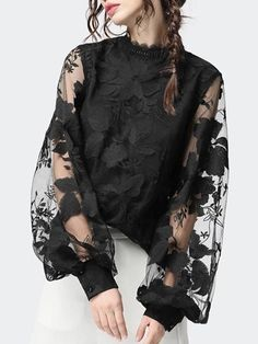 2020 New Style Women's Lace Puff Sleeve Transparent Crew Neck Solid Color Tops Blouses Female Casual Shirts Mode Outfits, Mode Inspiration, Types Of Sleeves, Blouses For Women, Women's Blouses, Fashion Dresses, Womens Fashion, Xl Fashion, Cheap Fashion