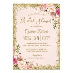 Blush Pink Gold Glitters Floral Bridal Shower Card #bridalshower #invitations #watercolor #floral #trendy #chic #bridetobe #celebration #bridalbrunch