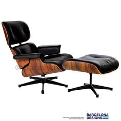 Eames Lounge Chair & Ottoman Style in Italian Leather (80% Assembled)