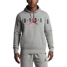 brand new ca785 7129b Mens Nike Jordan Flight Fleece Graphic Hoodie 834371-063 Dk Grey Heather Sz  XL