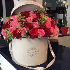 J'Adore Les Fleurs, Bouquet, Roses, Elegant Flowers, Hatbox, Flower, Mix, Red, Pink