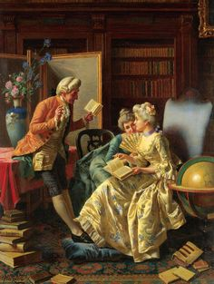 .:. In the Library. Pio Ricci (Italian, 1850-1919). Oil on canvas.Ricci was a student of the Accademia di Belle Arte in Florence, and predictably showed most of his works there, though he was known to have exhibited in Turin also. The artist was incredibly skilled at painting detail. He exhibited this most successfully in the fabrics in the dresses of his subjects which are on a par with those of Charles Soulacroix.