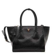 5e07dea0ee7c Prada Women's Black Glace Calf Leather Shopping tote 1BG625 #Prada #Fashion  #DesignerHandbags #