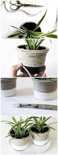 [orginial_title] – schere leim papier – DIY, Upcycling, Deko, Wohnen & Pflanzen DIY Plastiktopf-Upcycling mit Sisal DIY plastic pot upcycling with sisal and paint Upcycled Crafts, Upcycled Home Decor, Popsicle Stick Crafts For Kids, Craft Stick Crafts, Diy And Crafts, Sisal, Papier Kind, Diy Y Manualidades, Diy Upcycling