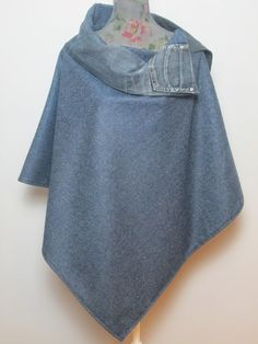 Ladies Poncho deep blue wool suit fabric with denim collar