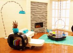 Lego moc really modern apartment with really cool furniture side view
