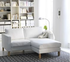 "That would be a solution for the living room: IKEA ""Karlstad"" sofa with Récamière … - DY Home Decoration Living Pequeños, Tiny Living Rooms, Ikea Living Room, Living Room Designs, Modern Living, Modern Sofa, Simple Living, Living Area, Living Spaces"