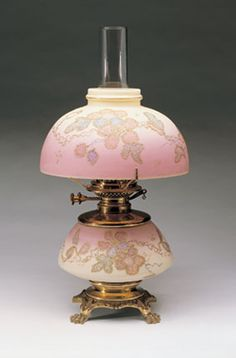 Mount Washington Glass Co. Blown Burmese Glass with Gilded and Enamel-Painted Decoration and Brass Oil Lamp Circa 1889-1890