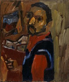 Self-Portrait, ca. 1935-1938, William H. Johnson, oil on burlap, 26 1/4 x 22 1/2 in. (66.7 x 57.2 cm.), Smithsonian American Art Museum, Gift of the Harmon Foundation, 1967.59.945