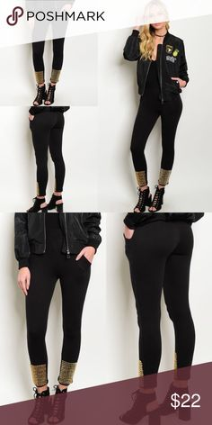 Black w/ Gold Ankle Studs Skinny Rocker Pants New with tags. Elastic waistband pants with gold studded hems.                                                            🌸100% cotton.                                                                     🌺PRICE IS FIRM UNLESS BUNDLED.                                  ❌SORRY, NO TRADES. Boutique Pants Skinny