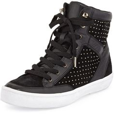 Rebecca Minkoff Smith Studded Leather High-Top Sneaker ($280) ❤ liked on Polyvore featuring shoes, sneakers, black, black high top sneakers, black studded sneakers, black hi top sneakers, lace up shoes and lace up sneakers