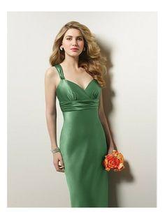 Satin Sexy V-Neck Ruched Waistline Floor Length Bridesmaid Dress