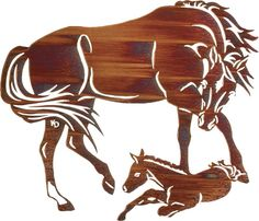 """(LZKDETR32WHP) 32"""" """"Eager to Run"""" Western Laser Metal Art"""