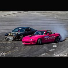 @itz_davey x @sld_trevor / photo by: @rossmperkins /via @statelinedrift | #TopMiata #mazda #miata #mx5 #eunos #roadster #v8miata #s13 #240sx #driftlife