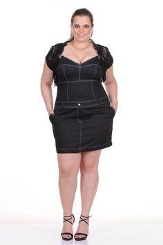 Moda feminina plus size   86821 Vestido jardineira jeans com bolero