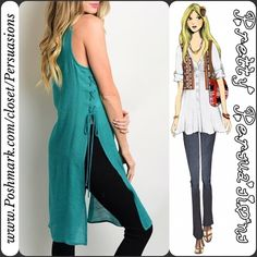 """NWT Jade Lace Up Side Tunic Top NWT Jade Lace Up Slit Sided Tunic Top  Available in sizes: S, M, L Measurements taken in inches from a size small:  Length: 39"""" Bust: 34"""" Waist: 36""""  • Rayon  Features:  • sleeveless  • longline hem • slits on sides  • lace up detail along sides • open/rounded neckline  • relaxed fit   Bundle discounts available  No pp or trades Pretty Persuasions Tops Tunics"""