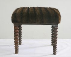 leopard ON++++++BARLEY TWIST CHAIRS OR PENDELTON BLANKETS OLD+++REAL MINK COAT vintage recycled fur footstool by WildChairy on Etsy