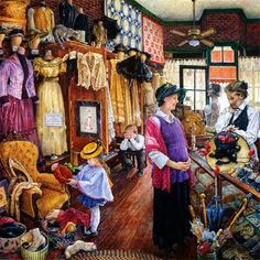 """Buying Hats"" by Susan Brabeau {American painter}"