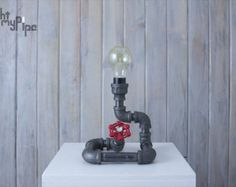 Industrial Pipe Lamp With IPad support and Apple watch dock | Etsy