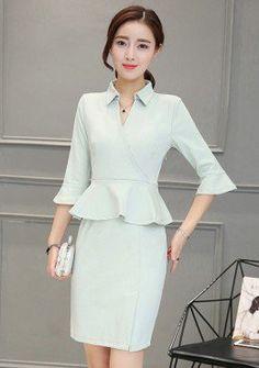 Buy Collar Wrap Neck Peplum Dress | mysallyfashion.com Malaysia