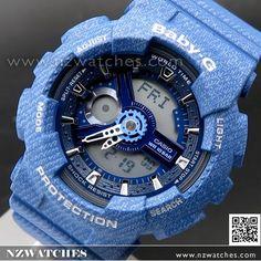 Casio Baby-G Denim Pattern Analogue Digital Limited Sport Watch BA-110DC-2A2, BA110DC