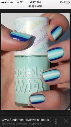 Shades of blue nails!