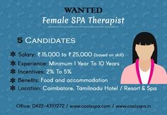 """FEMALE SPA THERAPISTS    We are hiring experienced and responsible """"FEMALE SPA THERAPISTS"""",   Candidates should be well versed with all kinds of treatments like Swedish, Deep Tissue, Foot Massage with Scrub, Facials etc.    Job Type: Full Time  Vacancies: 5"""