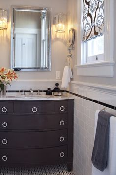 Subway , square then crown black and white tile, vanity right against wall would work in our small upstairs bath.