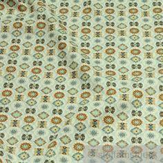 Stoff-Baumwolle-Popeline-pastellblau-Mandala-Baumwollstoff-Blume-Druck