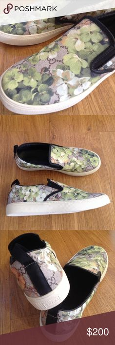 Men Blooms Slip On Sneakers 11 Flower Floral Plant Brand new!!! Nice green flower print. Wow!! A gift from girlfriend and I only wear Nike sneakers. Size 44. Brand new without tag. They are not Gucci shoes.   Bundle up with my other items to get an extra discount and save on combined shipping!!    🏉👍🏻👠 Gucci Shoes Loafers & Slip-Ons