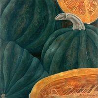Tres calabazas y una partida, 1999, óleo/lino