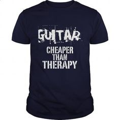 Guitar, Cheaper Than Therapy - #clothing #design tshirt. I WANT THIS => https://www.sunfrog.com/Funny/Guitar-Cheaper-Than-Therapy-Navy-Blue-Guys.html?60505