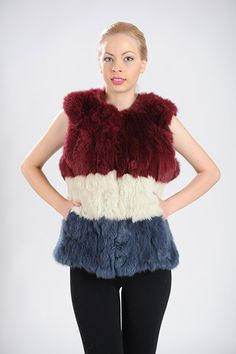 Burgundy, White and Blue vest of rabbit fur patchwork. Available for wholesale orders.