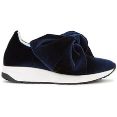 Joshua Sanders Navy Bow-embellished Velvet Trainers - Size 7 ($415) ❤ liked on Polyvore featuring shoes, sneakers, slip on shoes, navy blue slip on sneakers, navy shoes, pull on sneakers and navy slip on sneakers