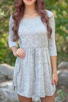 ac92f21d385 »Casual Scoop Neck 3 4 Sleeve Elastic Waist Solid Color Women s  Dress«