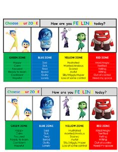 Zones of regulation cards merged with the Inside Out characters. Copies can be taped to student desks, sent home as resources, or strategically placed around the room. Emotional Regulation, Self Regulation, Social Emotional Learning, Social Skills, Inside Out Characters, Conscious Discipline, Behavior Interventions, Feelings And Emotions, Inside Out Emotions