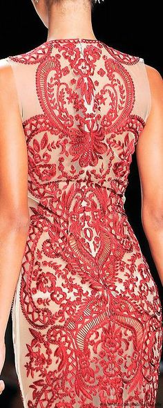 Beautiful details on this Naem Khan off-white and red gown