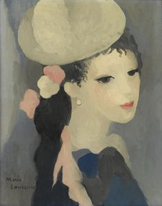hipinuff:  Marie Laurencin (French:1883 – 1956) - Femme au chapeau. Oil on canvas, 16 X 13 in