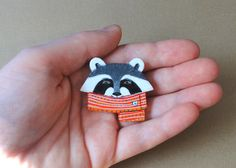 Ramona Raccoon Brooch  OOAK by @DormouseStudio on Etsy, $25.00