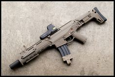 Beretta AR with holographic rds and integrated suppressor Airsoft Guns, Weapons Guns, Guns And Ammo, Rifles, Ar Pistol, Battle Rifle, Cool Guns, Assault Rifle, Military Weapons