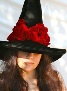 2e3b9a46df1 Witch Hat Black Hat Society Halloween Adult by MermaidenCreations