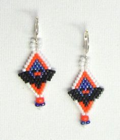 "Peek-A-Boo Earrings at Sova-Enterprises.com Celebrate Halloween with this ""batty"" pair of earrings which can be beaded in either peyote or brick. The pattern includes a list of 4 recommended Delica bead colors and a full color chart.  Knowledge of increasing and decreasing in the stitch used is required. This is a chart-only pattern so basic brick and peyote stitch instructions (including increasing and decreasing) are NOT included. Designer/Supplier: Bead Art by Ronit"