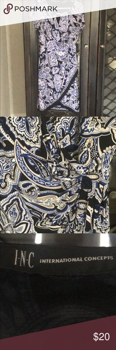 INC blue paisley dress 👗 Blue paisley dress - I could not find a size on this dress but I normally wear an 8 and it's a little big on me so my guess is it's a 10. INC International Concepts Dresses
